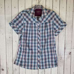 🔥 Eddie Bauer Vented Plaid Button Up Large